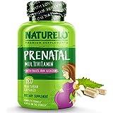 NATURELO Prenatal Multivitamin with Methyl Folate, Plant Calcium, Iron & Choline, Vegan, Vegetarian, Non-GMO, Gluten Free, 18