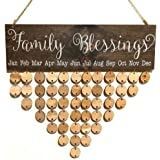 DZH Enjoy Wooden Family Blessings Calendar Plaque for Family and Friends Birthday Reminder Home Decor Wall Hanging Sign Board