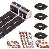 """EKIND Play Tape Black Road Sets 2 Rolls 16.4'X2 Straight Track Road Tape, 4 Pcs 2"""" Black Tight Curves, 40 Die Cut Traffic Sig"""