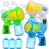 JOYIN 3 Bubble Guns Blaster Kit Automatic Bubble Maker Blower Machine with 3 Bubble Solutions for Kids, Bubble Blower for Bub