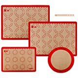 Silicone Baking Mat Set,Non-Stick,Heat-Resistant,Reusable Food Safe Baking Mat,for Making Cookies,Bread,Pastry and Pizza,Set