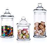 Diamond Star Set of 3 Clear Glass Apothecary Jars Elegant Storage Jar with Lid, Decorative Wedding Candy Organizer Canisters