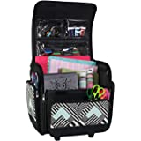 Everything Mary Deluxe Collapsible Rolling Craft Case, Teal Geometric - Scrapbook Tote Bag with Wheels for Scrapbooking & Art