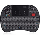 Ewin® [新型] ミニ キーボード JIS配列 ワイヤレス式 2.4GHz 無線 マウスホイール付き タッチパッド搭載 マウスセット一体型 超小型 多機能ボタン USBレシーバー付き バックライト8色自由変更 Fire TV Stick 、 Am