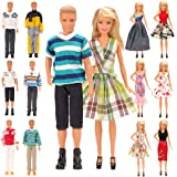 Barwa Lot 15 Items for 11.5 Inch Boy and Girl Doll EU CE-EN71 Certified Include 5 Sets Casual Wear Clothes + 5 Pcs Pants +2 S