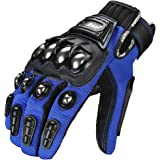 ILM Touchscreen Alloy Steel Bicycle Motorcycle Motorbike Powersports Racing Gloves (XL, BLUE)