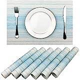 WAZAIGUR Placemat,Blue and White Blending Color Durable Woven Vinyl Placemat Washable Heat-Resistant Anti-Skid Kitchen Dining