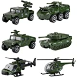Hautton Diecast Military Toy Vehicles, 6 Pack Alloy Metal Army Toys Model Cars Playset Tank, Jeep, Panzer, Attack Helicopter,