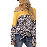 LilyCoco Women Leopard Print Shirt Tie Knot Tunics Long Sleeve Round Neck Pullover Tops
