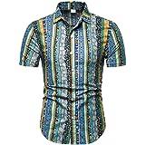 Willingviedd Men's Casual Summer Regular Fit Short Sleeve Print Shirt Button Down Shirt