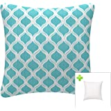 (Blue) - Indoor/Outdoor Throw Pillow with Insert 46cm x 46cm Decorative Square Blue Cushion Covers Pillow Sham for Couch Bed