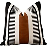 Vfuty Farmhouse Throw Pillow Covers for Couch Sofa Decorative Faux Leather Square Cushion Cover Tribal Stripe Accent Pillow C