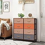 Crestlive Products Vertical Dresser Storage Tower - Sturdy Steel Frame, Wood Top, Easy Pull Fabric Bins, Wood Handles - Organ