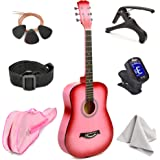 """Master-play Beginner Wood Acoustic Guitar 38"""" For Boys/Girls/Teens With Accessories Kit, Case, Strap, Pick, Digital Tuner, E"""