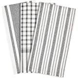 mDesign Kitchen Towel Set, 100% Cotton, Striped Pattern, Store in Drawers, Cabinets or Hang on Racks, Set of 3 - Gray