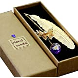 Toirxarn Classical Exquisite Feather Metal Bookmarks, Creative Dried Flowers, Eternal Flowers, Ldeal Friends and Family (Gold