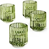 """Serene Spaces Living Votive Holder Pleated Green 2.25"""" Tall- 4pc"""