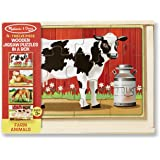 Melissa & Doug 3793 4-in-1 Wooden Jigsaw Puzzles in a Storage Box (48 pcs total) Deluxe Farm