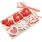 24PCS Christmas Hanging Ornaments Assorted Red White Wooden Christmas Tree Hanging Pendant Decorations