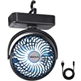 REENUO 4400mAh Camping Fan with LED Lights,40 Hours Max Working Time Tent Fan with Hanging Hook,Rechargeable Battery Operated