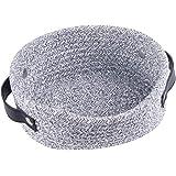 Small Woven Basket for Storage Oval Rope Coil Baskets with Handle Mini Cotton Basket Little Organizer Bins Boho Hamper Nurser