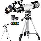 MAXLAPTER 天体望遠鏡 子供 初心者 屈折式 経緯台 口径70mm 焦点距離400mm ポータブルスコープ及び三脚、スマートフォンアダプタ、接眼レンズ2個(K6mm、K25mm)、シャッターコントロール、バックパック