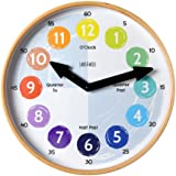 """Telling Time Teaching Clock for Kids Learn to Tell the Time 12"""" Wooden frame, Analog Silent nonticking Kids Room, Playroom de"""