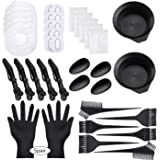 47 Pieces Dying Hair Bleaching Tools Salon Dye Kit Hair Tinting Bowl, Dye Brush, Ear Cover, Bleaching Gloves for Salon Hair D