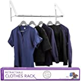 Stock Your Home Retractable Clothes Rack - Wall Mounted Folding Clothes Hanger Drying Rack for Laundry Room Closet Storage Or
