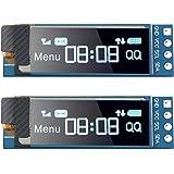 2 Pieces I2C Display Module 0.91 Inch I2C SSD1306 OLED Display Module Blue I2C OLED Screen Driver DC 3.3V - 5V