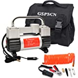 GSPSCN Silver Inflator Heavy Duty Double Cylinders with Portable Bag 12V Metal Compressor Pump 150PSI with Adapter to 150 PSI