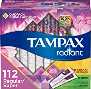 Tampax Radiant Plastic Tampons, Regular/Super Absorbency Duopack, Unscented, 28 Count - Pack of 4 (112 Count Total) (Packaging May Vary)