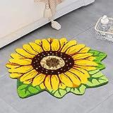 Sunflower Rug Round Flower Shaped Mat for Bathroom Kitchen Bedroom Living Room Home Decor, Handmade Washable Decorative Non-S