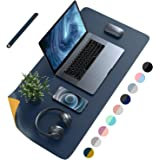 AFRITEE Desk Pad Protector Mat - Dual Side PU Leather Desk Mat Large Mouse Pad Waterproof Desk Organizers Office Home Table D