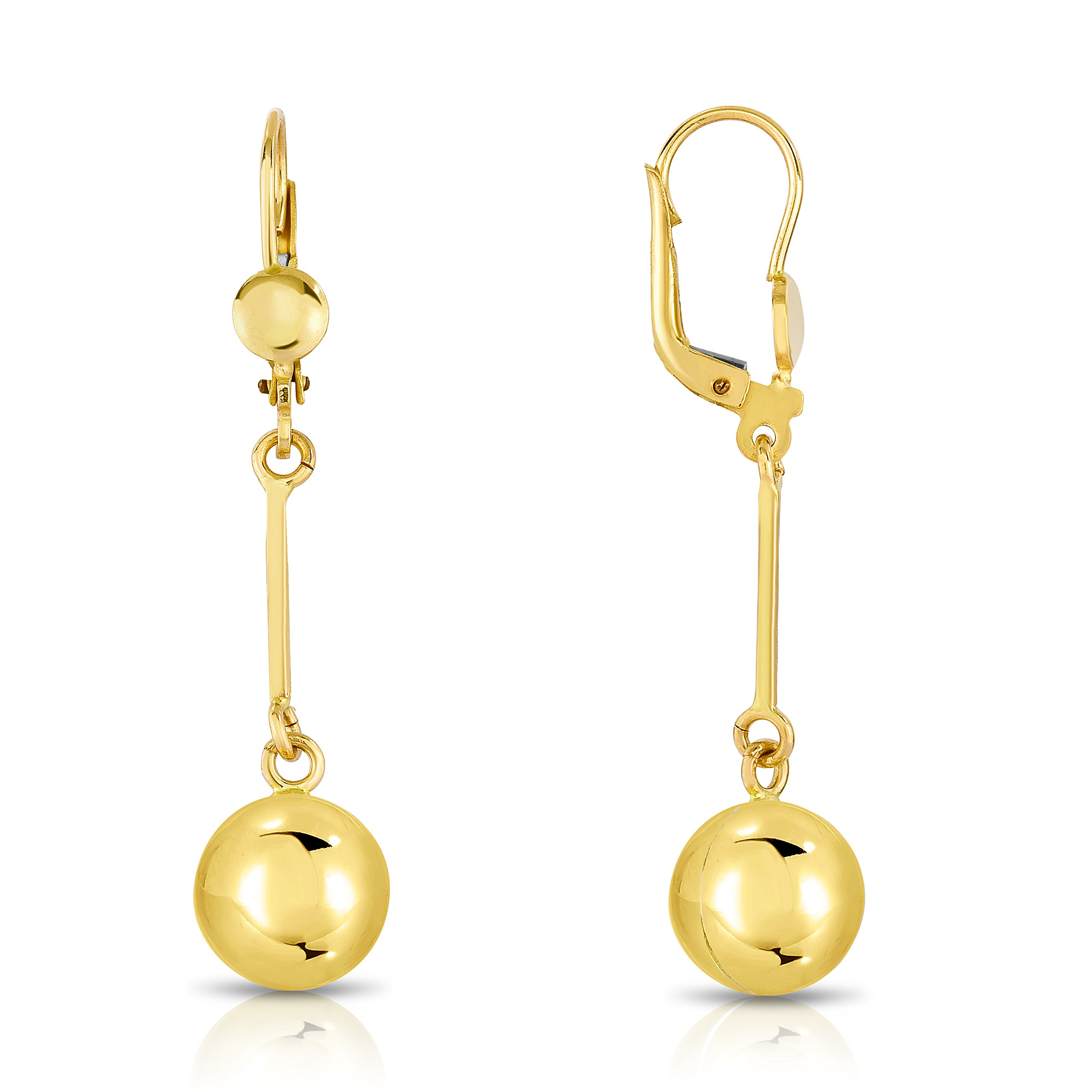MCS Jewelry 10 Karat Yellow Gold Leverback Drop Ball Dangling Earrings (Length: 45 mm)