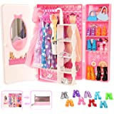 Barwa 44 Accessories for 11.5 Inch 28 - 30 cm Girl Doll: 1 Fashion Closet Wardrobe + 11 Dresses Clothes + 10 Pcs Shoes + 10 H