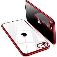 TORRAS iPhone SE ケース[第2世代] iPhone7 ケース iPhone8 ケース【2020年新型】透明 ソフトTPU 赤 メッキ加工 クリア 薄型 軽量 耐衝撃 SGS認証 黄ばみなし レンズ保護 4.7インチ アイフォン SE/7/8カバー (レッド)「Shiny Series」