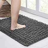 Walensee Bathroom Rug Non Slip Bath Mat (24x17 Inch Grey) Water Absorbent Super Soft Shaggy Chenille Machine Washable Dry Ext