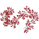 Artiflr Red Berry Garland, 6FT Flexible Artificial Red and Burgundy Berry Christmas Garland for Indoor Outdoor HomeFireplace