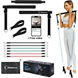 Goocrun Portable Pilates Bar Kit with Resistance Bands for Men and Women( 15,20,30lb Stackable), Suitable for Weightlifting,
