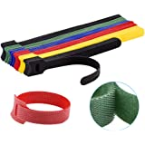 60PCS Reusable Cable Ties, Newlan 2 Size Adjustable Cord Straps, Cable Organizer, Cord Wrap and Hook Loop Cords Management -