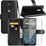 Nokia 2.4 Case, Nokia 2.4 6.50 inches Wallet Case, with Screen Protector,PU Leather Wrist Strap Card Slots Soft TPU Shockproo