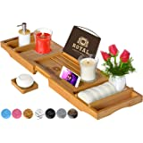 ROYAL CRAFT WOOD Luxury Bathtub Caddy Tray One or Two Person Bath and Bed Tray Bonus FREE Soap Holder (Natural BAMBOO Color)