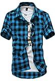 (Nail39) チェック 格子柄 シャツ 半袖 おしゃれ 夏用 かっこいい メンズ (4色選択 ブルー レッド ブラッ…