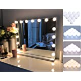 Hollywood Style Vanity Mirror Lights Kit, 10 Dimmable LED Bulbs with 5 Color Modes, 3200-6500K Adjustable Color for Makeup Va