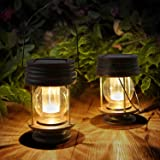 Obell Hanging Solar Lights 2 Pack Outdoor Garden Lights LED Retro Solar Hanging Lanterns with Handle for Pathway Yard Patio T