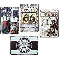 アメリカン 雑貨 ルート66 メタルプレート ブリキ 看板 4枚セット アンティーク レトロ