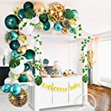 Sweet Baby Co. Jungle Theme Safari Baby Shower Decorations with Green Balloon Garland Backdrop, Tropical Leaves Decoration, I