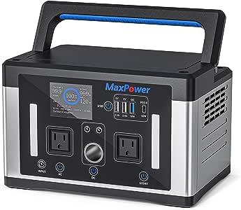 MaxPower ポータブル電源 新モデル MP600J 大容量 135200mAh/500Wh 総出力800W 家庭用蓄電池 純正弦波 PSE認証済 ソーラー充電 ACコンセント(600W 定格) DC USB PD出力 急速充電QC3.0、PD60W 車中泊 キャンプ 防災グッズ 停電時 1年保証 (600W 銀黒色)