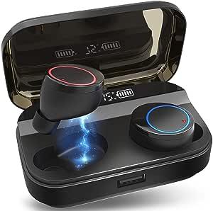 【2020最新版 4000 mAh IPX7完全防水】Bluetooth イヤホン ワイヤレス イヤホン LEDディスプレイ Hi-Fi 高音質 最新Bluetooth5.0+EDR搭載 3Dステレオサウンド 完全ワイヤレス イヤホン 自動ペアリング ブルートゥース イヤホン AAC対応 左右分離型 Siri対応 音量調整可能 超大容量充電ケース付き 電池残量インジケーター付き iPhone/ipad/Android適用 (ブラック)